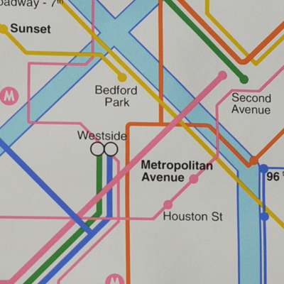 vignette Vintage New York subway map wall paper