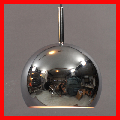 vignette Vintage chrome ball hanging lamp